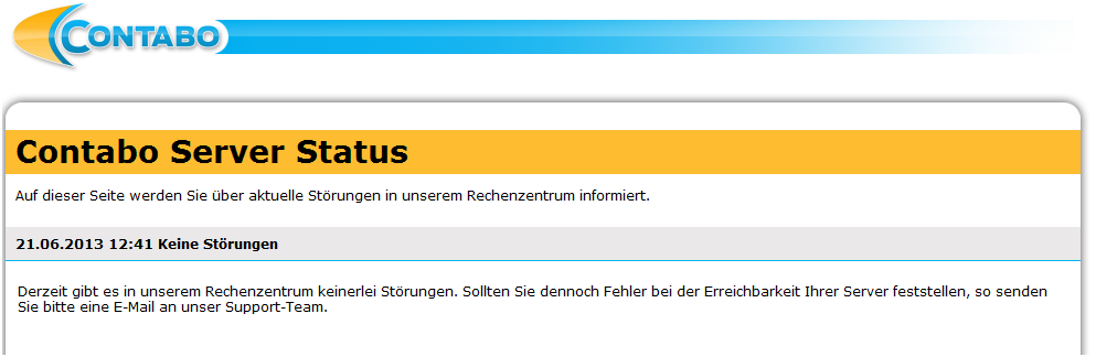Contabo Server Status