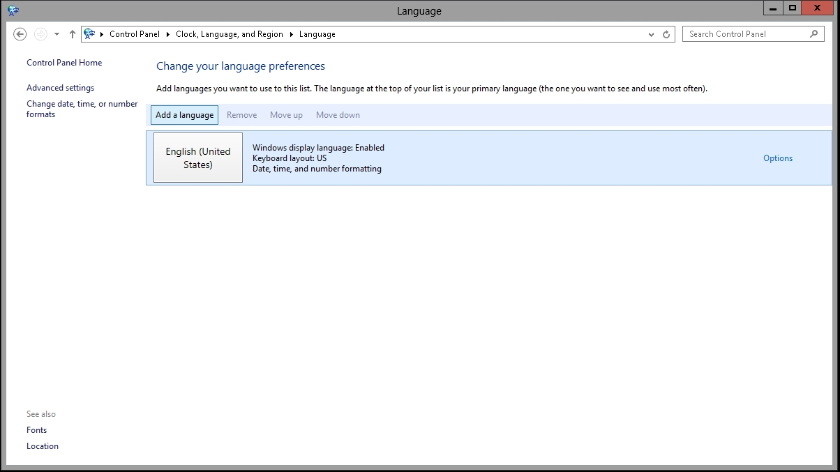 How to change the display language on Windows Server 2012 R2