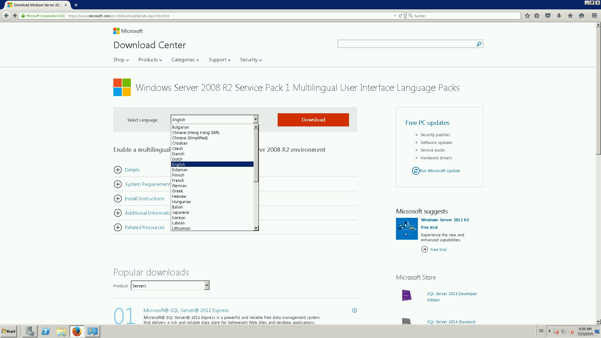 How to change the display language on Windows Server 2008 R2