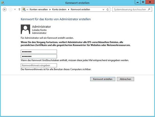 Windows-PW setzen (klein)
