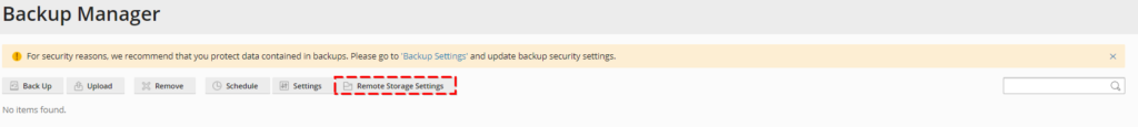 Plesk Backup Manager Remote Storage Settings