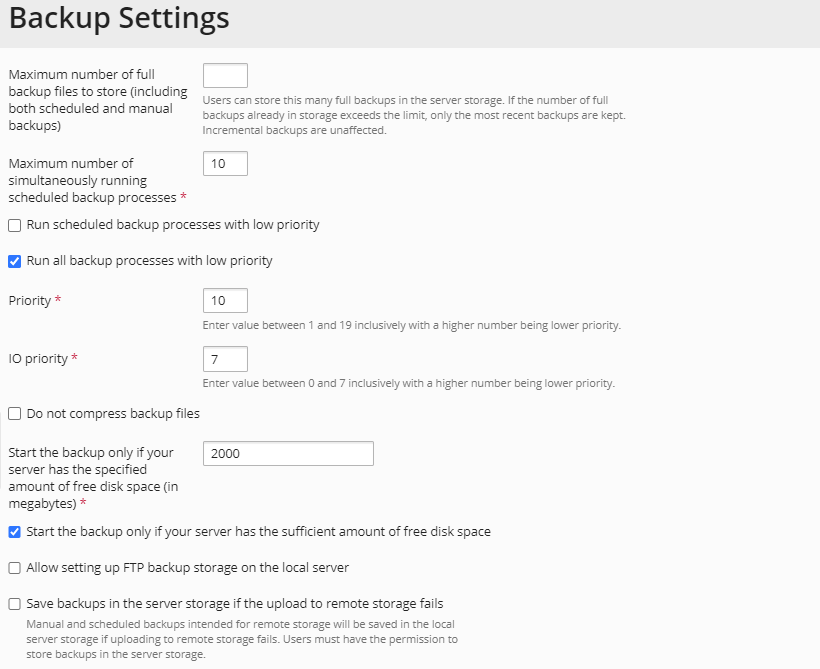 Plesk Backup Settings