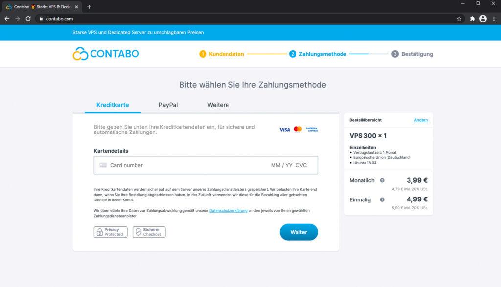 Kreditkartenzahlung bei Contabo