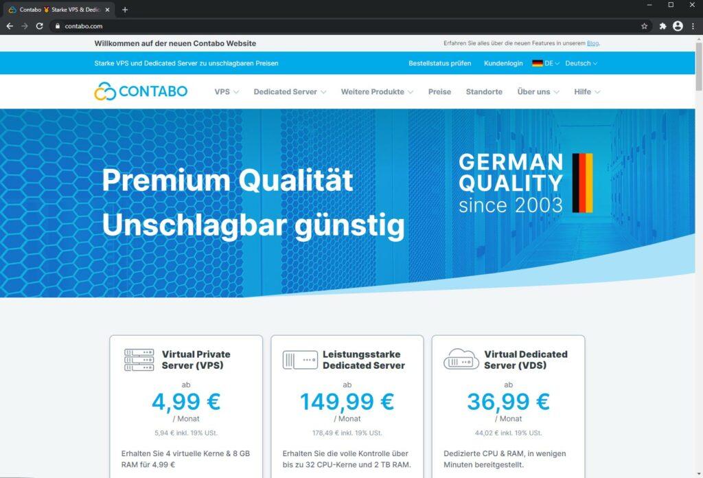 Contabo neue Website