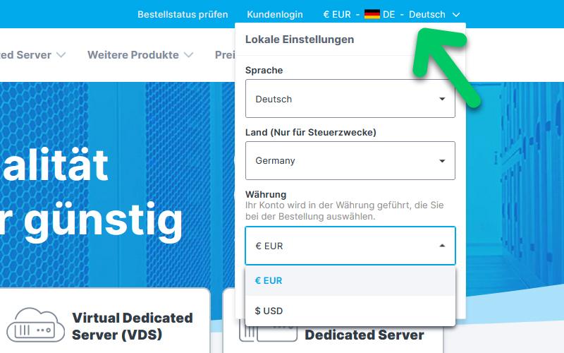 Wählen Sie zwischen EUR und USD